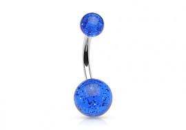 Piercing nombril acrylique paillette bleue