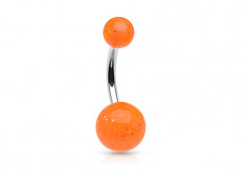 Piercing nombril acrylique paillette orange