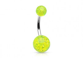 Piercing nombril acrylique paillette verte
