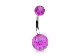 Piercing nombril acrylique paillette violette