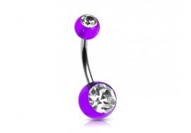 Piercing nombril acrylique violet pierre blanche