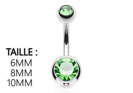 Piercing nombril basique pierre vert