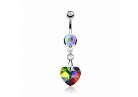 Piercing nombril coeur de cristal Vitrail