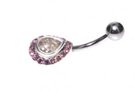 Piercing nombril fantaisie goutte strass rose