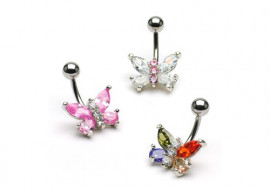 Piercing nombril papillons