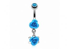 Piercing nombril pendentif rose bleue