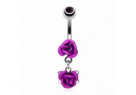 Piercing nombril pendentif rose violette