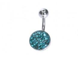 Piercing nombril cristaux emeraude
