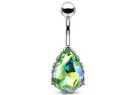 Piercing nombril filigrane cristal vert