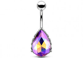 Piercing nombril filigrane cristal violet