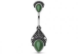 Piercing nombril pierre semi précieuse jade