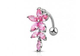 Piercing Nombril inversé fleur rose