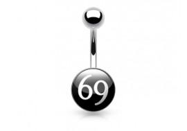 Piercing nombril acier logo 69