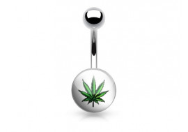 Piercing nombril acier logo cannabis