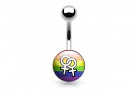 Piercing nombril acier logo LGBT