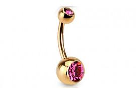 Piercing nombril plaqué or rose pierre rose