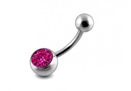 Piercing nombril cristal fushia