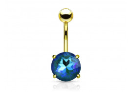 Piercing nombril cristal bleu plaqué or