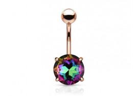 Piercing nombril cristal vitrail plaqué or rose