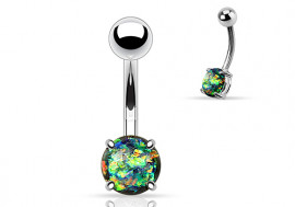 Piercing nombril opale brillante essence acier