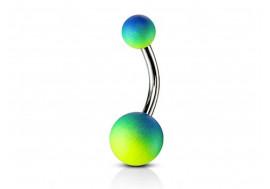 Piercing nombril silicone vert et bleu