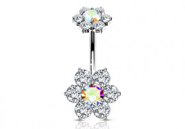 Piercing Nombril Fleur double charme multicolor
