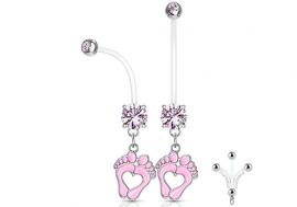 Piercing nombril femme enceinte pied rose