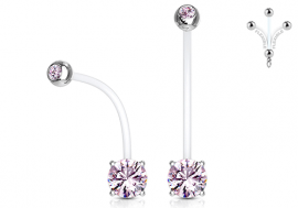 Piercing nombril femme enceinte strass rose