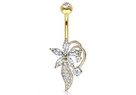 Piercing nombril fleur arabesque plaqué or