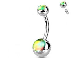 Piercing nombril iridescent vitrail