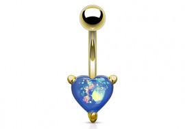 Piercing nombril coeur doré opalite bleue