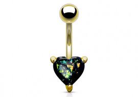 Piercing nombril coeur doré opalite essence
