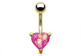 Piercing nombril coeur doré opalite rose