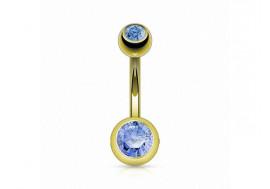 Piercing nombril basique plaqué or bleu clair