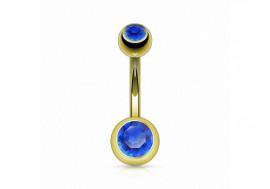 Piercing nombril basique plaqué or bleu foncé