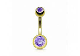 Piercing nombril basique plaqué or tanzanite