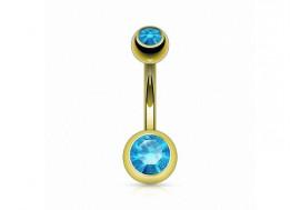 Piercing nombril basique plaqué or turquoise
