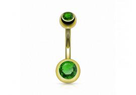 Piercing nombril basique plaqué or vert