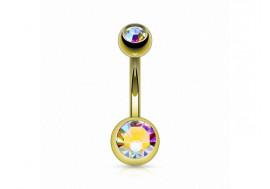 Piercing nombril basique plaqué or blanc irisé