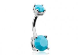 Piercing nombril double charme pierre turquoise