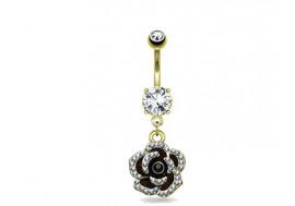 Piercing nombril rose noire pendante plaqué or