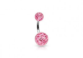 Piercing nombril swarovski rose