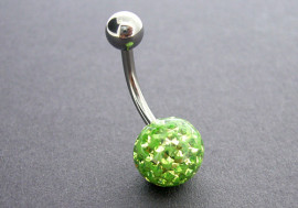 Piercing nombril swarovski une bille verte