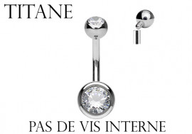 Piercing nombril pas de vis interne Titane 10mm