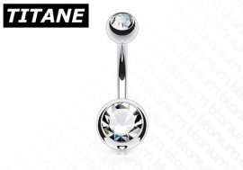 Piercing nombril titane double strass blanc