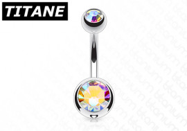 Piercing nombril titane double strass blanc irisé