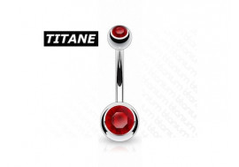 Piercing nombril titane double strass rouge
