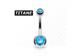 Piercing nombril titane double strass turquoise