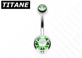 Piercing nombril titane double strass vert