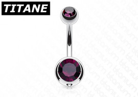Piercing nombril titane double strass violet